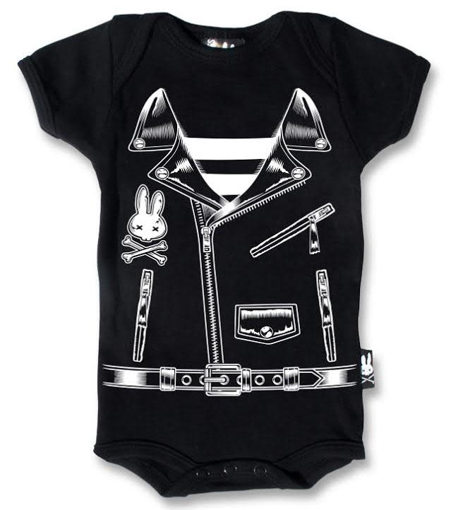 Rocker Biker Jacket Onesie by Six Bunnies (S:0-3m, M:3-6m, L:6-12m, XL:12-18m)