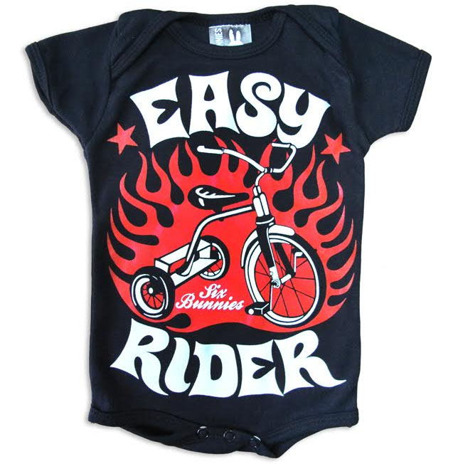 Easy Rider Tricycle Onesie by Six Bunnies (S:0-3m, M:3-6m, L:6-12m, XL:12-18m)