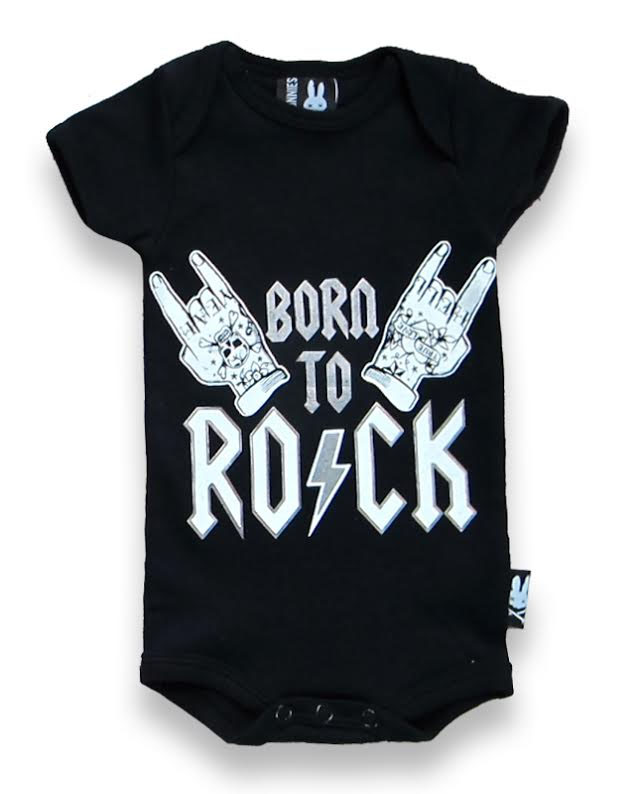 Born to Rock Onesie by Six Bunnies (S:0-3m, M:3-6m, L:6-12m, XL:12-18m)