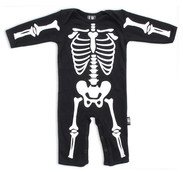 Skeleton Bones Bodysuit by Six Bunnies (S:0-3m, M:3-6m, L:6-12m)