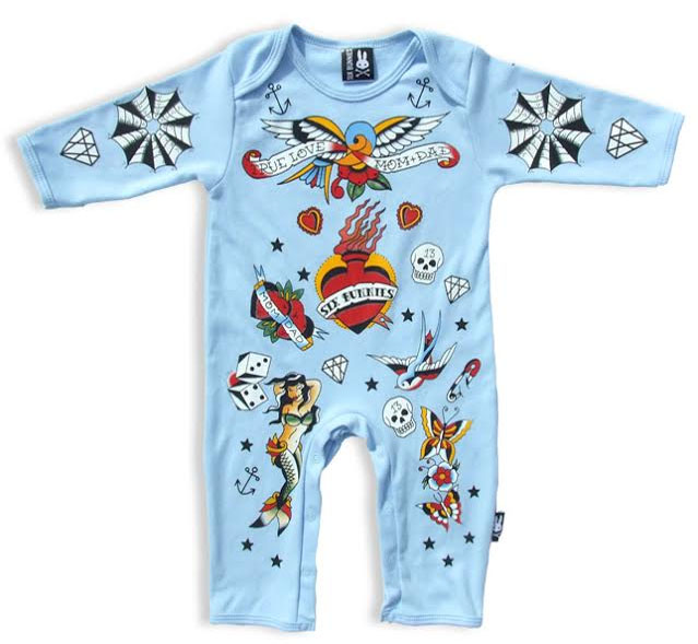 Old School Tattoo Blue Bodysuit by Six Bunnies (S:0-3m, M:3-6m, L:6-12m)