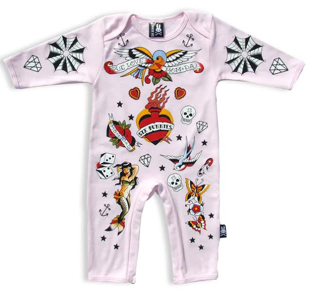 Old School Tattoo Pink Bodysuit by Six Bunnies (S:0-3m, M:3-6m, L:6-12m)