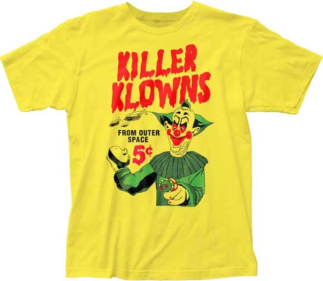 Killer Klowns From Outer Space- 5 Cent Pies on a yellow ringspun cotton shirt