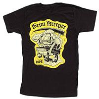 Kustom Kreeps Grim Kreeper on a black guys slim fit shirt by Sourpuss