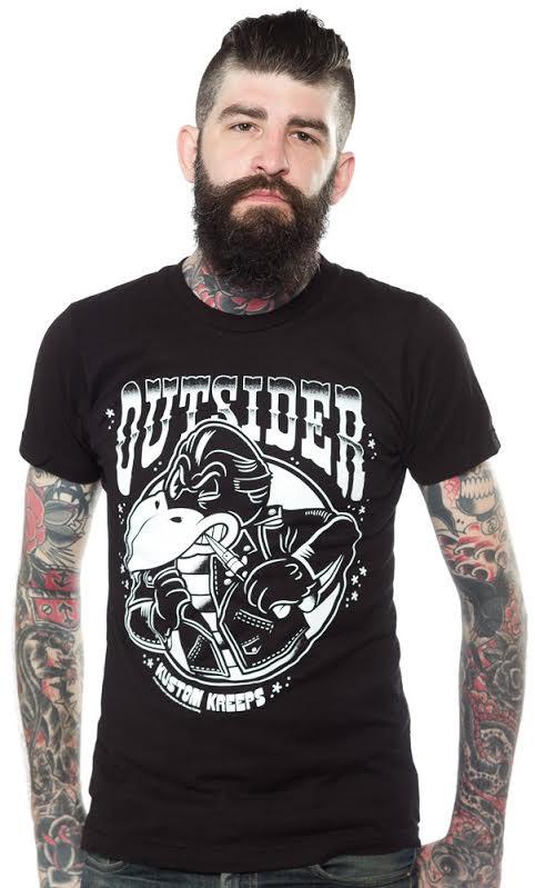 Kustom Kreeps Outsider on a black guys slim fit shirt by Sourpuss