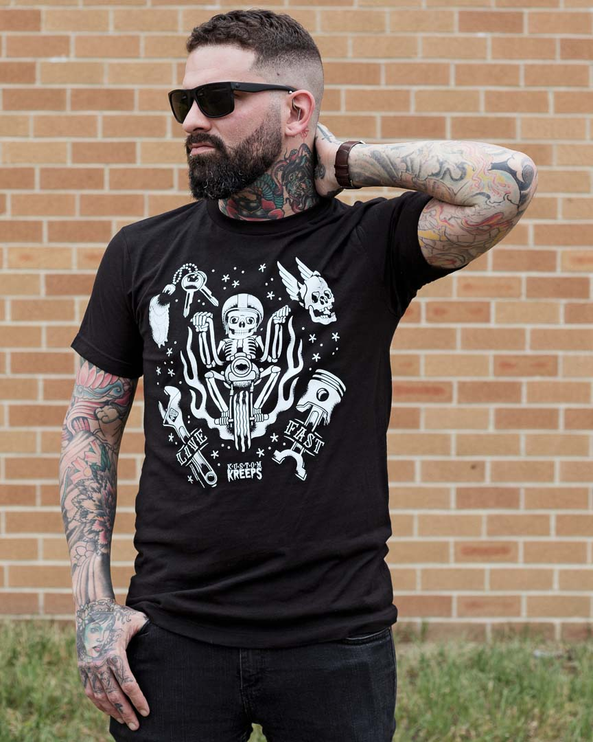 Kustom Kreeps Live Fast on a black guys slim fit shirt by Sourpuss - SALE
