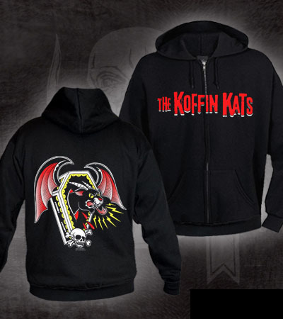 Koffin Kats- Logo on front, Panther on back on a black zip up hooded sweatshirt (Sale price!)