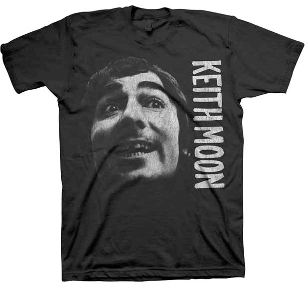 Keith Moon- Grin on a black ringspun cotton shirt