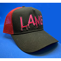 Johnny Thunders- L.A.M.F. on a grey & pink trucker hat