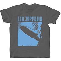 Led Zeppelin- Blue Zeppelin on a grey ringspun cotton shirt