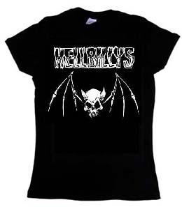 Hellbillys- Skull Bat on a black girls fitted shirt (Sale price!)