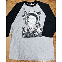Baseball Style Skull Bandito guys slim fit shirt by Low Brow Art Company - artist Ben Strawn - SALE sz XL only