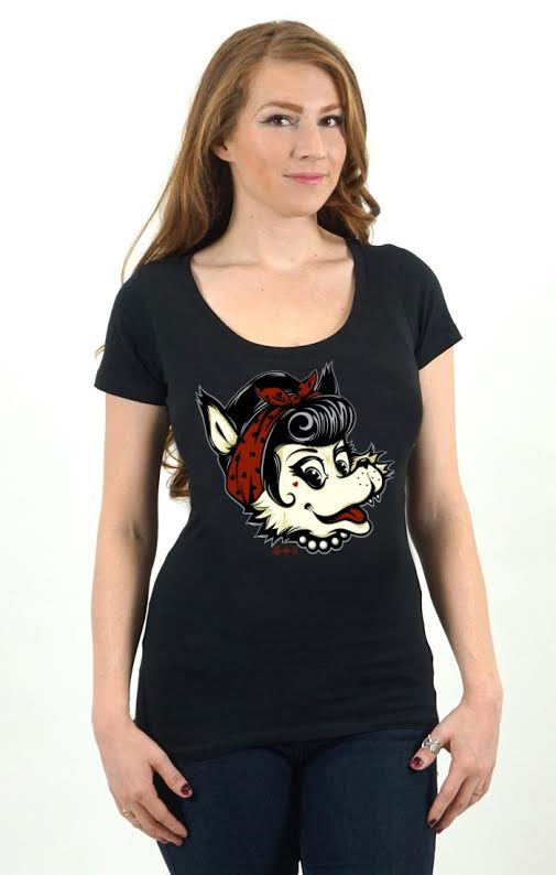 Luna Women's Retro Wolf Scoop Neck shirt by Lucky 13 - on black