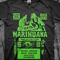 Marihuana- Weird Orgies Wild Parties on a black shirt (Green Print)