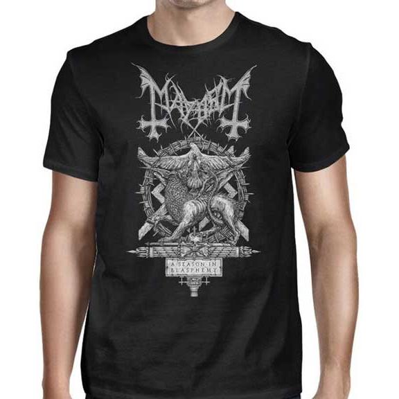 Mayhem- A Season In Blasphemy on a black shirt