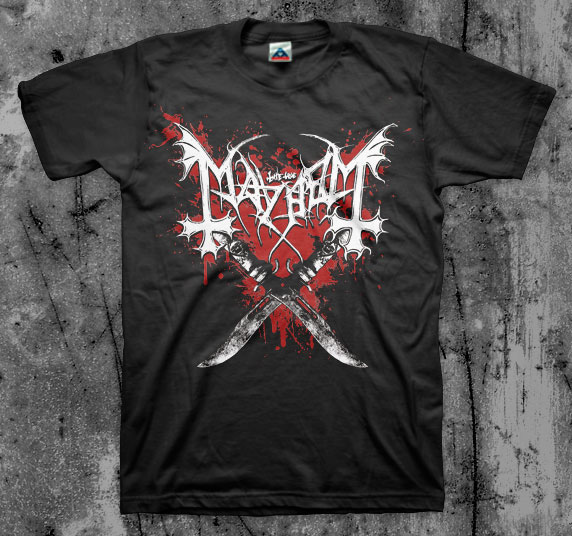 Mayhem- Knives on front, Grand Declaration Of War on back on a black shirt