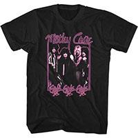Motley Crue- Girls Girls Girls Band Pic With Neon Pink Border on a black ringspun cotton shirt