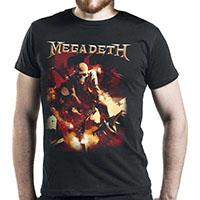 Megadeth- Vic Smashing Guitar on a black shirt