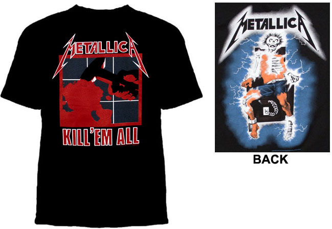 Metallica- Kill 'Em All on front, Electric Chair on back on a black shirt