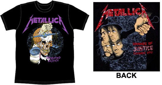 Metallica- Damaged Justice on front, Hammer Of Justice on back on a black shirt
