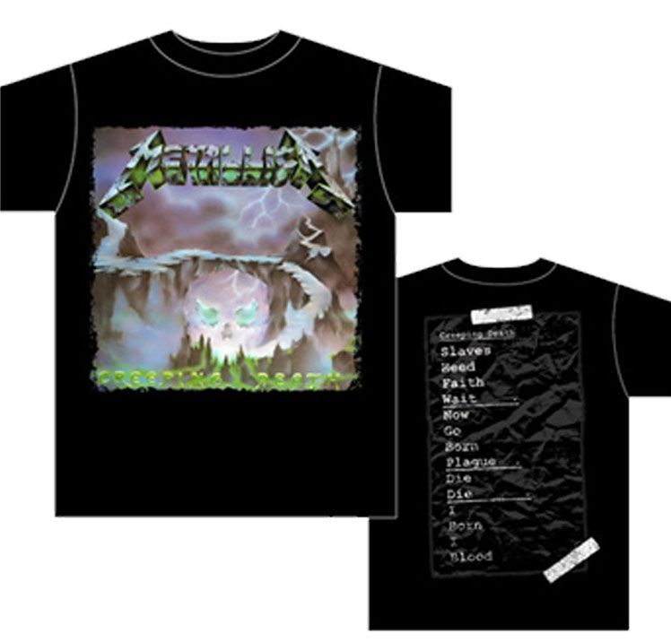 Metallica- Creeping Death on front & back on a black shirt (Sale price!)