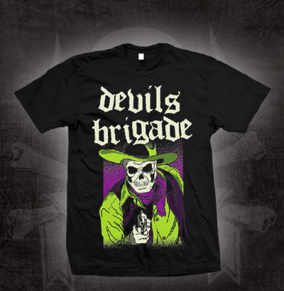 Devils Brigade- Green Gunslinger on a black shirt (Sale price!)