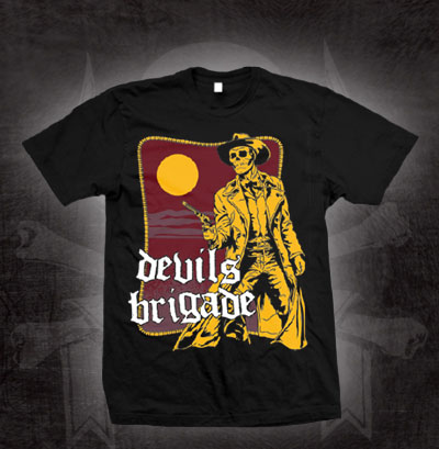 Devils Brigade- Yellow Vigilante on a black shirt (Sale price!)