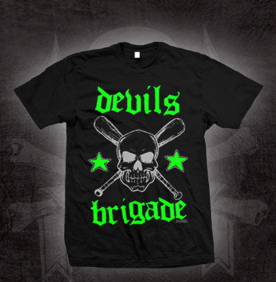 Devils Brigade- Skull & Crossed Bats on a black shirt (Sale price!)