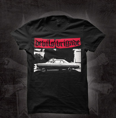 Devils Brigade- Car on a black girls fitted shirt (Sale price!)