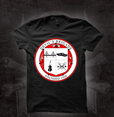 Devils Brigade- Crest on a black girls fitted shirt (Sale price!)