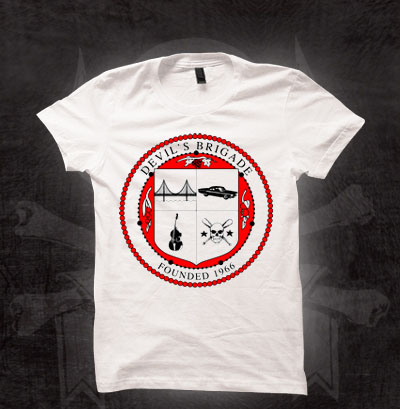 Devils Brigade- Crest on a white girls fitted shirt (Sale price!)