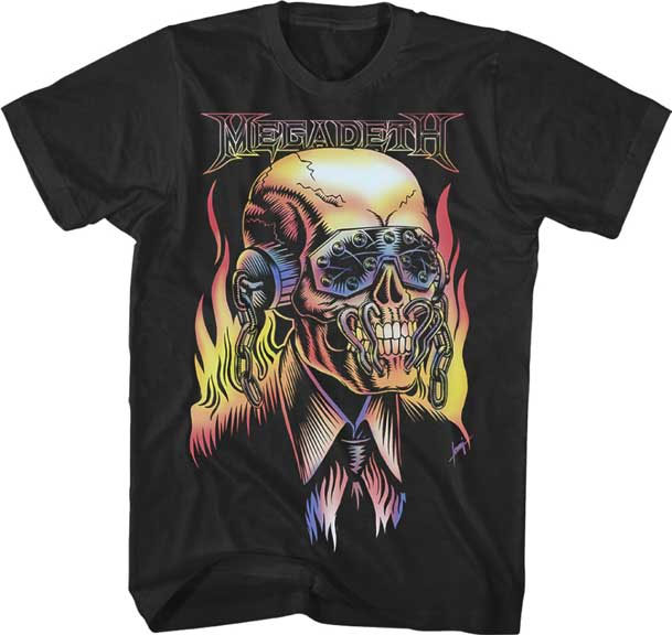 Megadeth- Vic Rattlehead on a black shirt