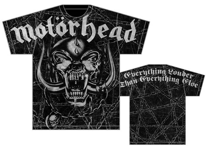 Motorhead- Oversized War Pig & Chains on front, Everything Louder Than Everything Else on back on a black shirt (Sale price!)