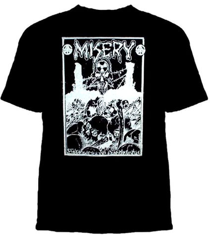 Misery- Skulls And Barbed Wire on a black shirt (Sale price!)