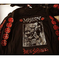 Misery- Pain In Suffering on front, Symbols on sleeves, Profane Existence on back on a black LONG SLEEVE shirt