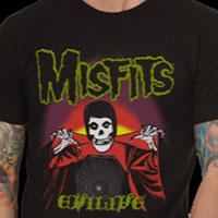 Misfits- Evilive (Fiend & Spiderweb) on a black ringspun cotton shirt