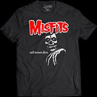 Misfits- Evil Never Dies on a black ringspun cotton shirt