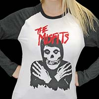 Misfits- Fiend on a white/black long sleeve raglan shirt