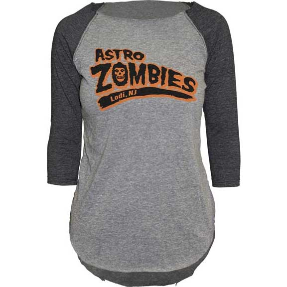 Misfits- Astro Zombies on front, 138 on back on a heather grey/black girls raglan 3/4 sleeve shirt