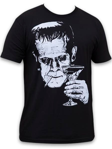 Monster Martini guys slim fit shirt by Low Brow Art Company - artist Mike Bell