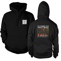Broken Bones- Small Logo on front, F.O.A.D. on back on a black hooded sweatshirt