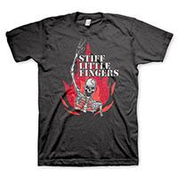 Stiff Little Fingers- Skeleton on a black shirt