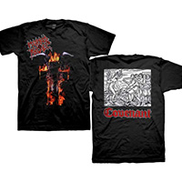 Morbid Angel- Flaming Goat Head on front, Covenant on back on a black shirt
