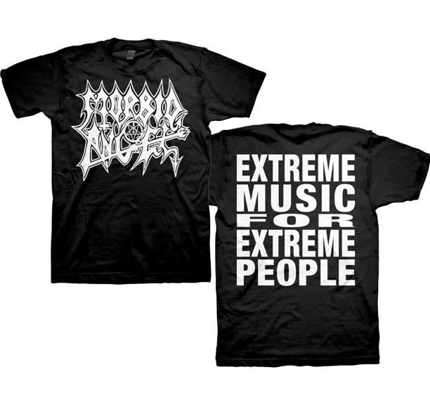 Morbid Angel- Logo on front, Extreme Music on back on a black shirt