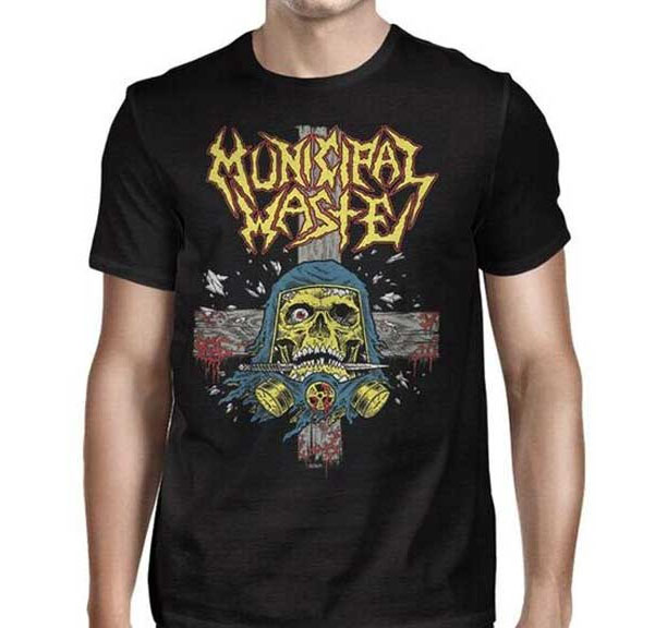 Municipal Waste- Gas Mask on a black shirt