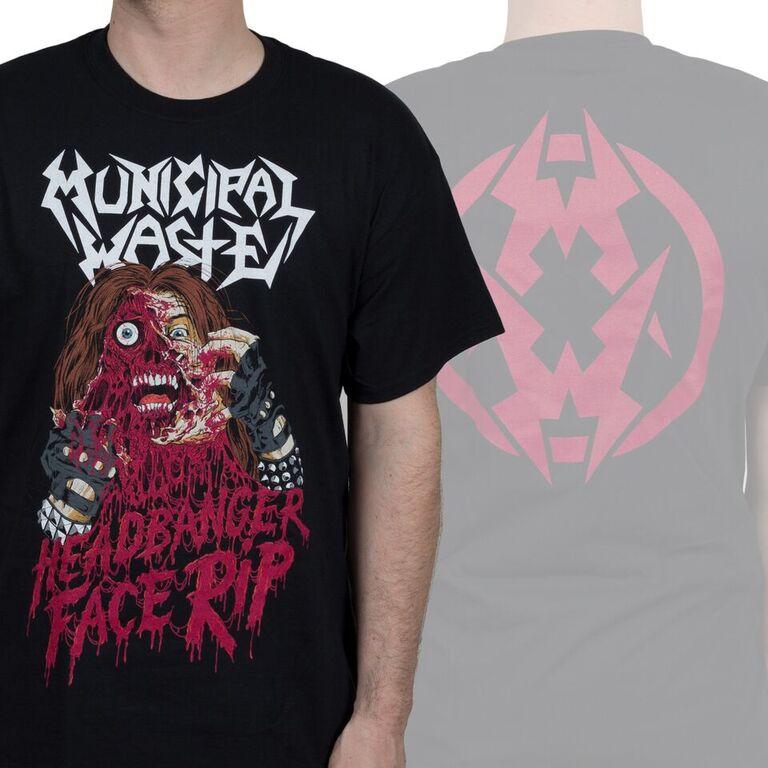 Municipal Waste- Headbanger Face Rip on front, Symbol on back on a black shirt