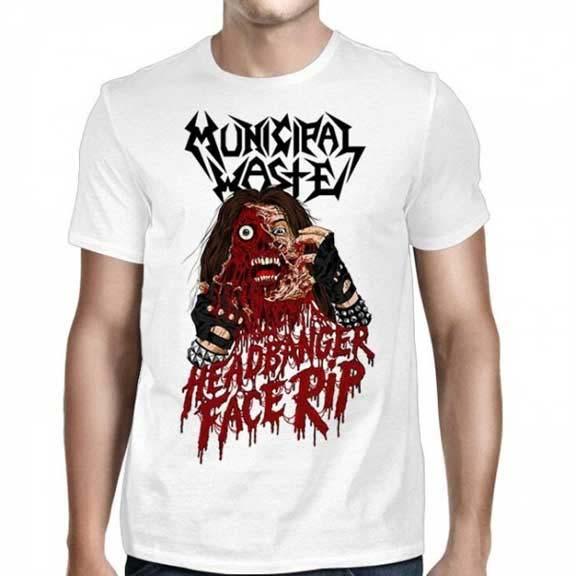 Municipal Waste- Headbanger Face Rip on a white shirt