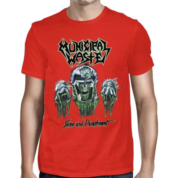 Municipal Waste- Slime And Punishment on front, Symbol on back on a red shirt