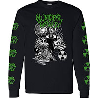 Municipal Waste- Biotech on front, Logos And Radiation Symbols on sleeves a black long sleeve shirt