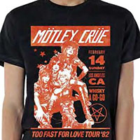 Motley Crue- Too Fast For Love Tour '82 on a black ringspun cotton shirt